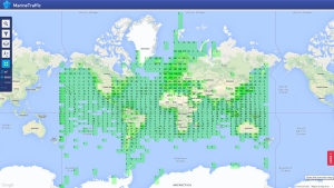 snapshot of ships at sea on Jan 7, 2015.  image courtesy of MartinTraffic.om